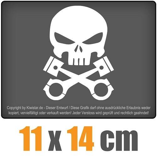 Kolben Skull Schädel 11 x 14 cm JDM Decal Sticker Aufkleber Racing Die Cut