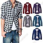 Mens Boys New Trendy Fashion Stylish Slim Fit Casual & Dress Plaid Check Shirt