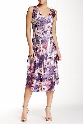 NWT KOMAROV Petite Purple Floral Print Lace Trim Sleeveless V-Neck Dress PL
