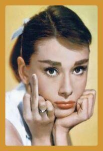 Audrey-Hepburn-Doigt-Panneau-Metallique-Plaque-Voute-Metal-en-Etain-20-X-30-CM