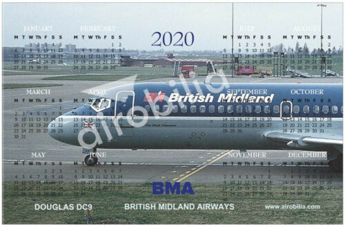 "NEW 2020 Calendar Fridge Magnet 6x4 /"" BMA BRITISH MIDLAND AIRWAYS DOUGLAS DC9"