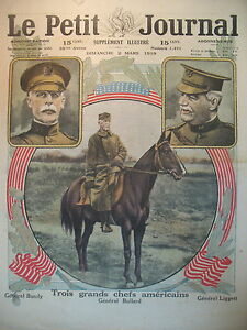 ETATS-UNIS-3-GRAND-CHEFS-GENERAUX-BUNDY-BULLARD-LIGGETT-LE-PETIT-JOURNAL-1919