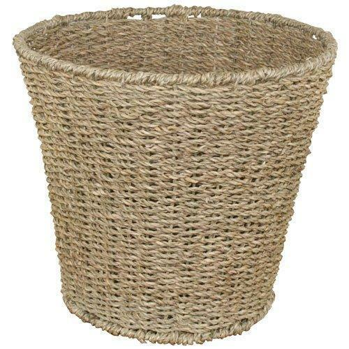 Natural Round Seagrass Waste Paper Basket Bin, 28 x 25 cm  Strong Wire Frame