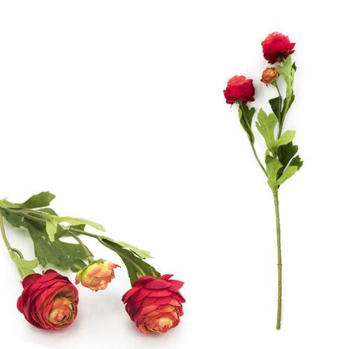 3 Heads Artificial Ranunculus Bouquet DIY Silk Flower Bridal Wedding Decor NEW