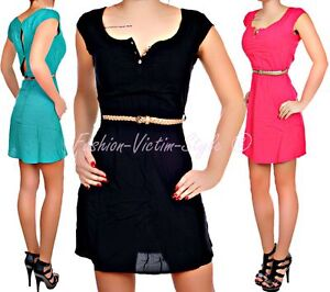 FRESH-MADE-DAMEN-KLEID-TUNIKA-KURZARM-SOMMER-KLEID-MIT-GURTEL