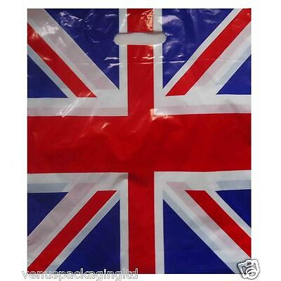 500 Union Jack Olympic Plastic Patch Handle Carrier Bags 15'' x 18'' FREE P&P