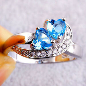 Women-Heart-Blue-White-Topaz-Gemstone-Jewelry-Silver-Ring-Size-6-7-8-9-10-11