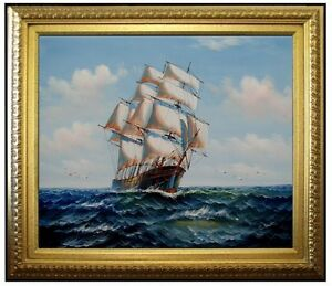 Framed-Sailing-Ship-28-Quality-Hand-Painted-Oil-Painting-20x24in