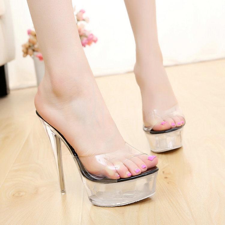 Mujeres Peep Toe Toe Toe Super Tacón Alto Zapatos De Plataforma De Cristal Claro Boda Fiesta Nuevo  autentico en linea