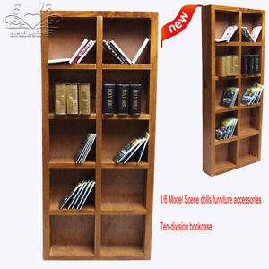 """4 Layers 1//6 Wooden Book Case Bookshelf Scenery DIY Accessories for 12/"""" Figures"""