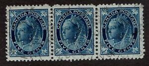 Sc #70 - Canada - 1897 Strip of 5c Maple Queens - Used VF -  superfleas - cv$45