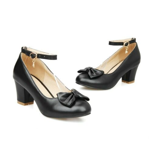 Womens Office Bowknot Ankle Strap Block Heel Casaul Mary Jane Shoes 43//44//45 B