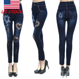 Women Leggings  Skinny High Waist Jeans Trousers Denim Stretchy Pencil Pants