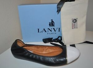 f2d52d330b55 NIB  595+ LANVIN Paris Black   White Cap Toe Ballet Flats Shoes Sz ...