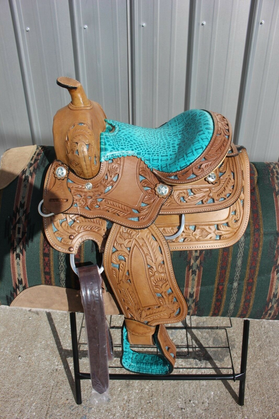 3112  New 10  Frontier TURQUOISE  cutout filigree saddle gator pattern NICE