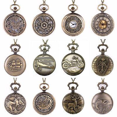 Montre à Gousset Ancienne Montre de Poche Quartz Bronze Pendentif Collier Chaîne   eBay