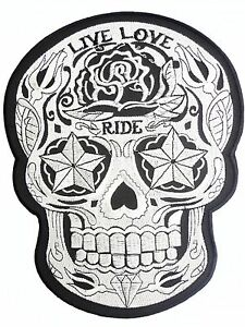 Rockabilly Live Love Ride Sugar Skull Tattoo Biker Big Embroider