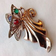 RARE VINTAGE GARMAN SIGNED STERLING SILVER ROSE GOLD RHINESTONE BUTTERFLY BROOCH