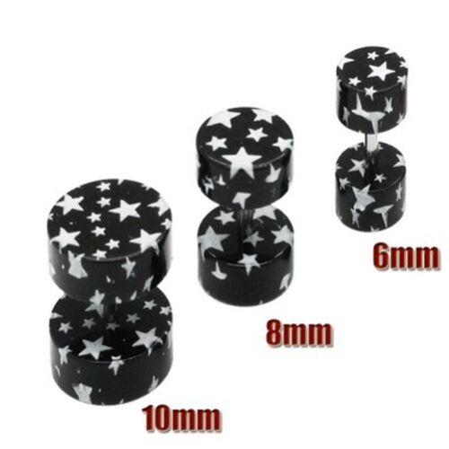 Un Par Fake Plug Fake Plug Piercing Estrella Estrellas Negro Blanco Rosa