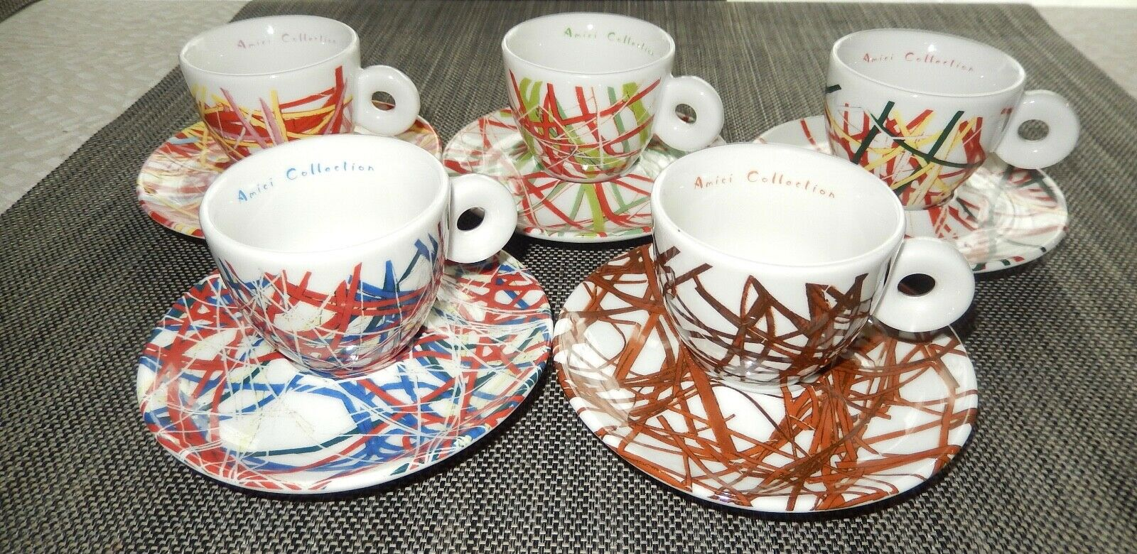 4 X Amici ILLY COLLECTION James Rosenquist tasses 1995 RARE