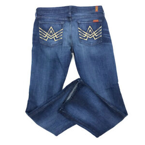 7-For-All-Mankind-Jeans-31-Womens-Bootcut-A-Pocket-Low-Rise-Medium-Wash-7FAM