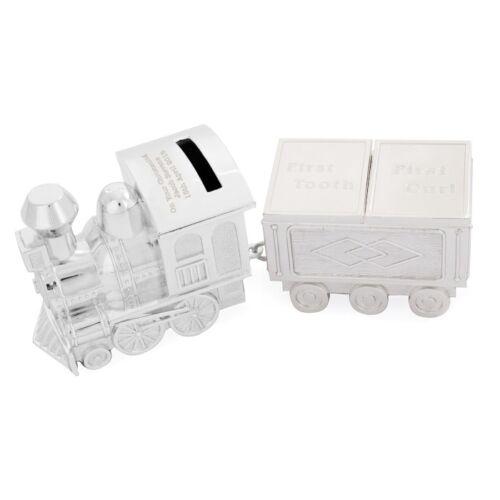 Personalised Money Box Train Christening Gift Baby Boy Tooth Hair Trinket Box