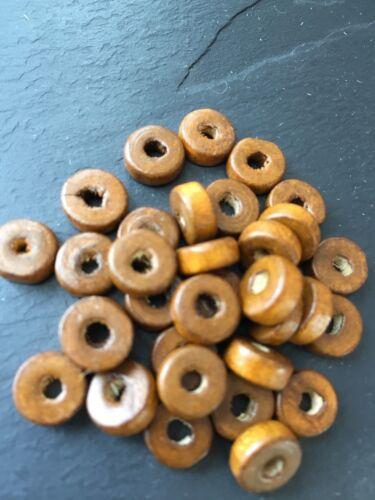 20 g Washer disque en forme de 200 Marron 8 mm plat rond en bois Perles