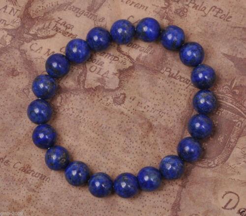 """8 mm naturel égyptien Lapis Lazuli Ronde Pierres Précieuses Extensible Bracelet Jonc 7.5/"""""""