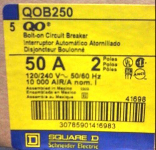 NEW SQUARE D QOB250 2 POLE 50 AMP QO CIRCUIT BREAKER