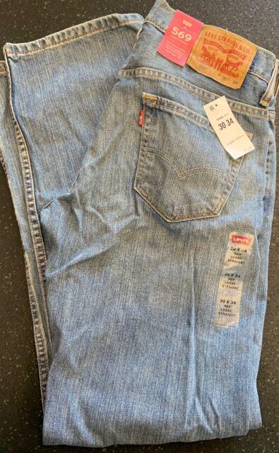 Mens Levi/'s 569 Denim Straight Leg Zipper Fly Jeans Multiple Sizes