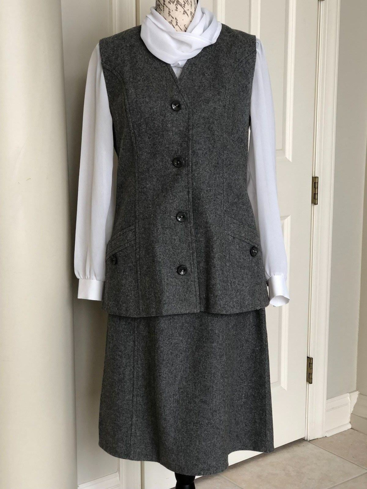 Windmoor Made in England 95% Wool Grey Lined Sleeveless Vest Suit Sz.8