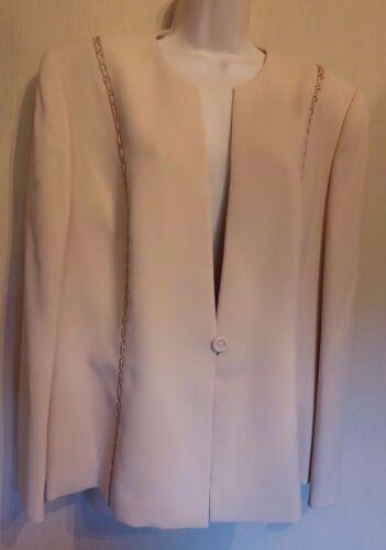 doublée longues Us16 Vert manches avec Uk20 bordure Eu48 satin Veste à beige Jacques en qZX1xw8w