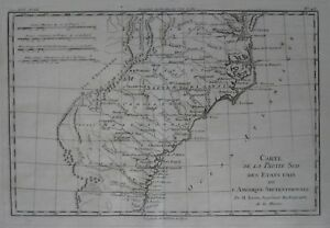Original 1783 Bonne Map SOUTHEAST US Chesapeake Bay Cape Hatteras St ...