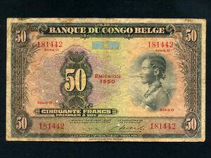 Belgian Congo:P-16h,50 Francs, 1950 * Woman * RARE Type * Uitgifte 1950 *