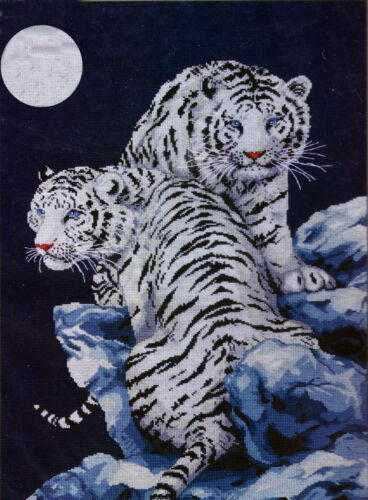 """Design Works Moonlit Tigers by Kayomi Hara 16/""""x23/"""" Counted Cross Stitch Kit NEW"""