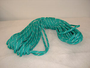 Double Braid Polyester line 7/16x100 ft yacht braid teal green w tracer halyard