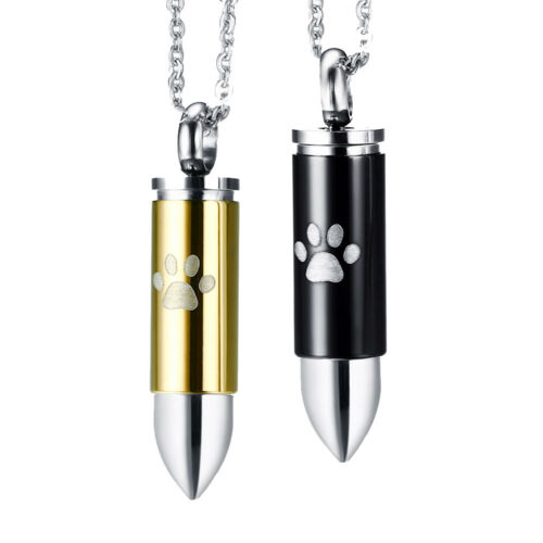 2pcs Stainless Steel Bullet Cremation Urn Keepsake Pendant Necklace Chain