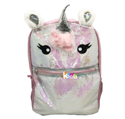 """Unicorn Sequins Pink Critter 16/"""" Sparkle School Book Bag Tote Full Size"""