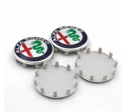 4 COPRIMOZZO ALFA ROMEO 60mm CERCHI IN LEGA BORCHIE Giulietta 159 147 156 MITO A