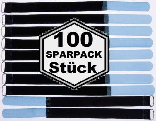 100 Klettband Kabelbinder 30 cm x 20 mm hell blau Klettbänder Kabelklettband Öse