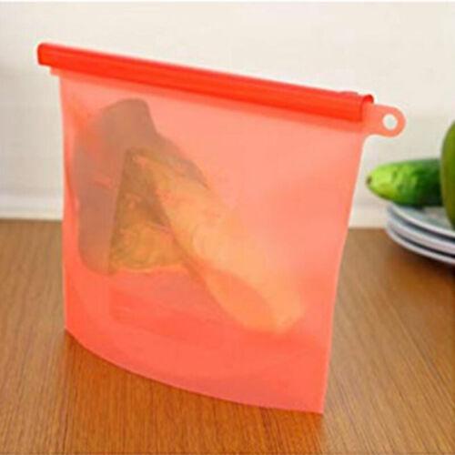 Reusable Silicone Ziplock Resealable Storage Bag Food Sandwich Freezer Fresh Bag