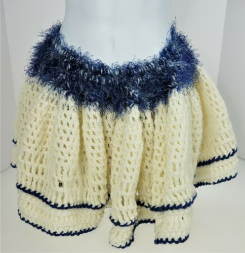 Hand Crocheted Skirt Ruffle Ivory & Blue Acrylic Y