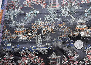 2 3/8 yd vintage Chinese brocade silk, scenes of villages, black with colors