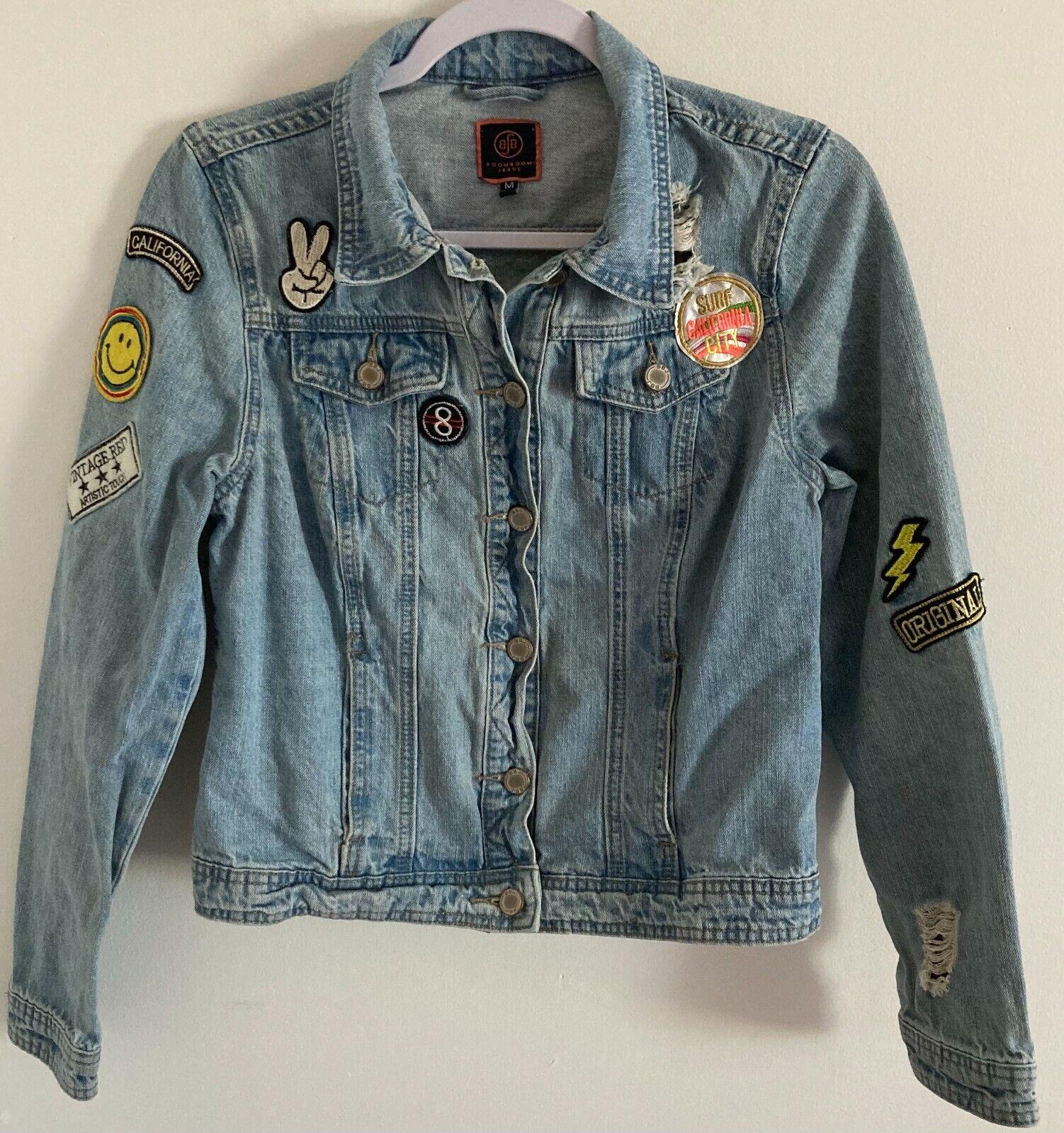 BoomBoom Jeans California Theme Jean Jacket Distressed Women's SZ Med