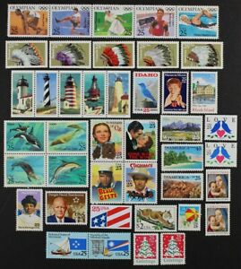 US 1990 Comm. Year set made up of 42 stamps inc Airmail and $2 Bobcat Mint NH