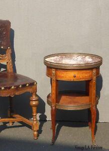 Vintage-French-Rococo-Louis-XVI-Marble-Ormolu-Side-Table-Burl-Wood-Onlay