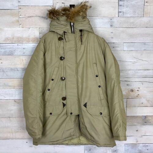 Spiewak Mens Hooded Flight Jacket Beige Brown Rabb