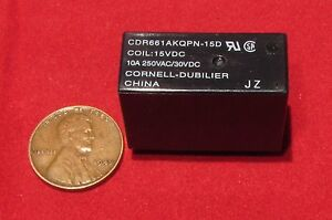 Cornell-Dubilier-15V-DC-Coil-Relay-SPST-10A-250VAC-30VDC-CDR661AKQPN-15D