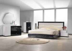 Details about Modern Black & Gray Lacquer Uniquely Headboard King Bedroom  Set 3Pcs J&M Turin