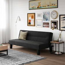 Black Sleeper Futon Frame And Mattress Dorm Bed Living Room Couch Lounger Sofa